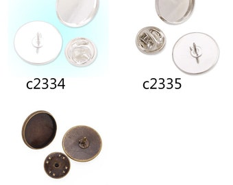 Cameo Brooch back,Tie Tac Clutch with 16mm Round Bezel Cup, fit 16mm round cabochons