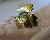Brooch,Metal,Iridescent,Leaf Brooch