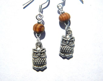 Owl Earrings with Wood