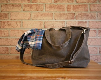 Waxed Canvas Zipper Tote Messenger - Vegan Unisex Carry All Day Bag