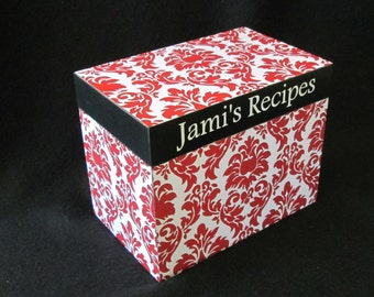 Recipe Box - Red Damask - Wooden Recipe Box- Personalized Recipe Box