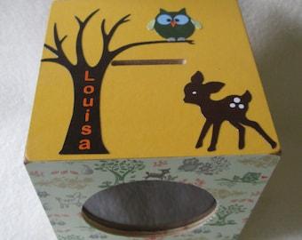 Bank - Wood Piggy Bank - Wooden Bank -  Owl & Deer - Personalized - Wooden Coin Bank - Gift
