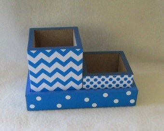 Pencil Cup Holder - Desk organizer - Desk Set - Small - Blue Chevron - Blue Polka Dot - Gift