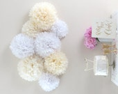 Purely Chic Pom-Pom Collection - 8 Piece Collection - White and Cream - Weddings - Photo Backdrop - Photo Prop - Bridal Shower - Nursery
