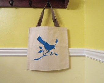 Birdy Screenprint on a Canvas Tote / Bird Bag / Blue Bird Bag / Book Bag /  Library Bag