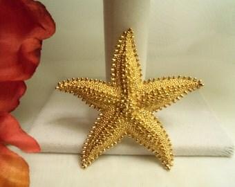 Chic Women's Vintage Monet NEVER WORN Large Goldtone STARFISH Star Fish Brooch- Birthday Gift Her Mom Mother Mum. Nautical Sailor Jewelry