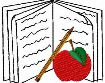 School Book Embroidery Design - Instant Download