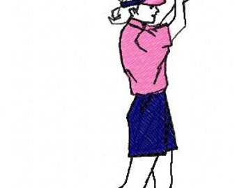 Lady Golfer Embroidery Design - Instant Download
