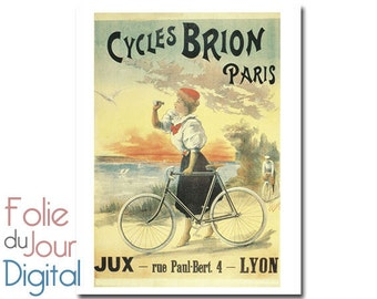 "Digital French bicycle bike advertisement antique ephemera paper woman girl sunset sea ocean - 8.5 x 11"" - Instant Download"