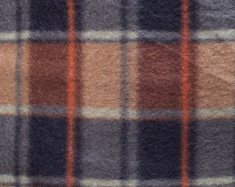 Orange Plaid Print Fleece Fabric by the yard
