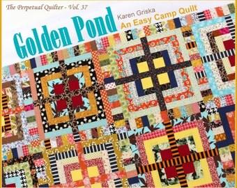 Camp Quilt Pattern, Golden Pond, Easy Quilt Pattern, XLong Twin Quilt, Improv Quilt, String Quilt, Scrap Quilt, Fun Quilt, qtm
