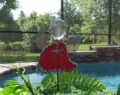 Stained Glass Angel Red Swirled Opal with Tibetan Silver Starfish Charm  -  Potted Plant Stake - Memorial Marker