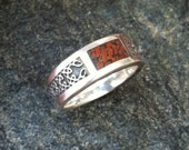 sterling ring inlaid with fossilized dinosaur bone size 7