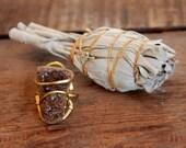 Petrafied Wood Smoky Drusy Ring In Brass