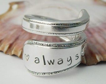 Personalized Ring, Personalized Jewelry, Hand Stamped Ring, SPOON RING - you choose stamp- Silverware Jewelry, Personalized Gift