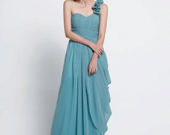 On Sale Size XS Wedding dress , Silk Chiffon party dress, Grey Green bridesmaid dress, floor length formal dress - NC516-5