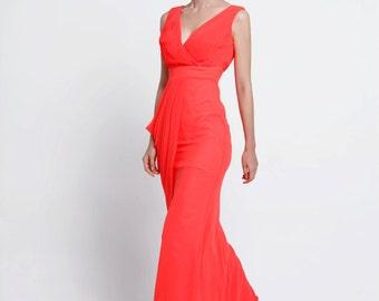 On Sale Size XXS  Red Wedding dress/Silk Chiffon party dress/ bridesmaid dress/Prom/ handmade/ floor length formal dress - NC519-2