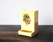 Retro Yellow Kitchen Decor Wall Match Holder, Kitschy Butterfly & Berry Design, Vintage 1950s