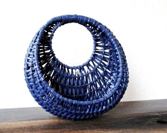 Vintage Handing Basket, Wicker Deep Blue Rustic Decor Mail Holder Planter Wall Pocket