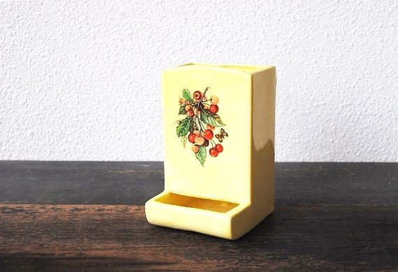 Retro Yellow Kitchen Decor Wall Match Holder Kitschy