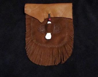 Sheep Skin & Bear Bone Belt Bag - Double Fringe