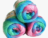 Alize multicolor yarn, Microfiber acrylic yarn , 1 Skein, Each skein: 100 gr, Rainbow yarn, colorful yarn