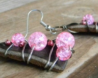 Steampunk Wire Wrapped Pink Crackle Glass Bead Leather Earrings Mother's Day Gift