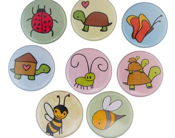 Reptiles and Insects Magnets - Pick your 4 Magnets - Alligator, Bug, Bee, Turtle, Butterfly, Snail Refrigerator Magnets