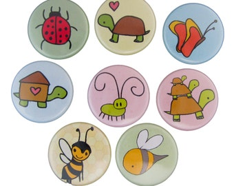 Reptiles and Insects - Pick your 4 Insect Pins - Reptile Pins - Bug, Butterfly, Bee, Turtle, Snail, Alligator, Crocodile