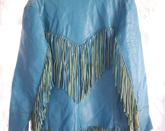 Corral Sportswear Co~ RARE Jo -Kay Fringed Jacket ~ Bohemian ~ Hippie ~ Western Turquoise Blue Leather ~ Cowgirl Chic
