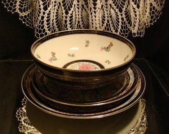 GOLDIMARI, HAND PAINTED, Set of 3, Bowl and Plates, Vintage Goldimari China, Mid Century Decor