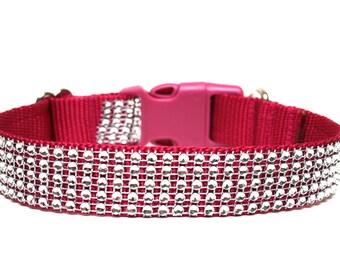 "Rhinestone Dog Collar 1"" Dark Pink Dog Collar"
