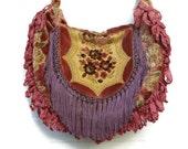 Victorian Bag Purse Vintage Cut Velvet Vintage Doiley Vintage Fringe