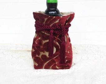 Wine Bag Gift Bag Burgundy Cut Velvet