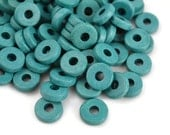 50 Mykonos 8mm Round Washer - Teal Blue - Greek Ceramic Beads - Spacer Disc - createyourbliss