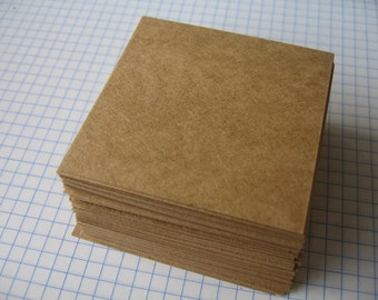 100 pcs. Square 2.50 x2.50 inch  Kraft Paper Cards, Kraft Note Cards , Kraft Tags