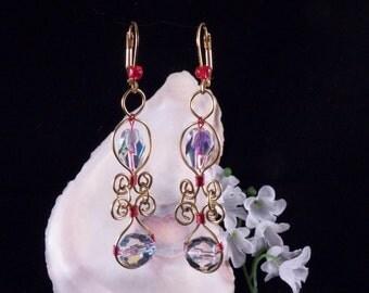 Wire Wrapped Earrings - Crystal Earrings - Red Earrings - Dangling Earrings - Holiday Earrings - Costume Jewelry - Handmade In Montana