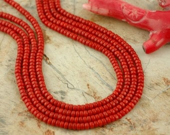 Luscious Petit : A-Grade Fiery Red Coral Rondelle Beads, 4x3mm, Nautical Jewelry Making Craft Supplies, Dyed, Southwestern, 154 pcs, CR 163