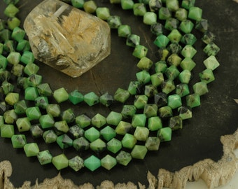 Chinese Chrysoprase : Green Stone, Black Matrix, Opaque Faceted Bicone, Approx. 8x8mm, Natural, Spacer Beads, Jewelry Making Supplies, TQ227
