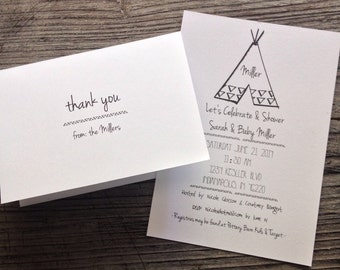 Baby Shower Invitations & Thank Yous - Teepee - set of 10