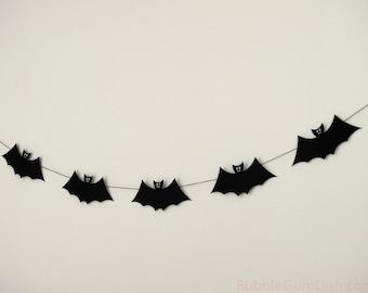 Colony of Bats Halloween Garland Bat Bunting Decoration - Large black paper Bat Halloween Decor