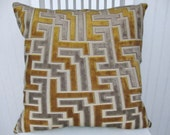 Grey Gold Velvet Decorative Pillow Cover-- 18x18 or 20x20 or 22x22 Geometric Throw-Accent Pillow