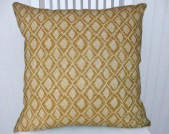 Honey Gold Geometric Pillow Cover--18x18 or 20x20 or 22x22 Decorative Accent Pillow, Lumbar Pillow