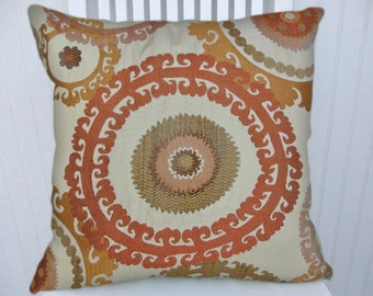 Orange  Suzani  Pillow Cover--NEW!!  18x18 or 20x20 or 22x22 Gorgeous Throw Pillow-Acent Pillow
