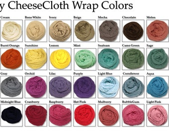 "SALE!!  Large Cheesecloth wrap 34 color choices 36"" X 72"" (3ft X 6ft) by Posey Pillow"