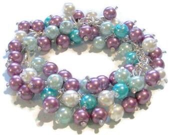 Turquoise Aqua Violet and White Pearl Cluster Bracelet, Bridesmaid Bracelet,  Maid of Honor Jewelry,  Spring bracelet,  Prom Bracelet