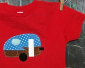 Appliqued Camper T-shirt, Retro Camping Shirt, Red Boy's Size 7 READY-TO-Ship, Other Sizes and Colors Available Upon Request