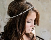 Skinny Rhinestone Wedding Headband, Thin Diamond Bridal Headband on White Ivory Ribbon - Style HB610