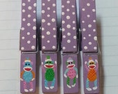 Cute Colorful Sock Monkey clothespin magnets, set of 4