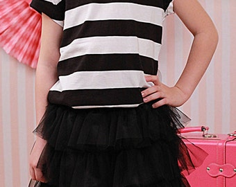 Full length Pink or Black Tiered Tulle Twirl Skirt